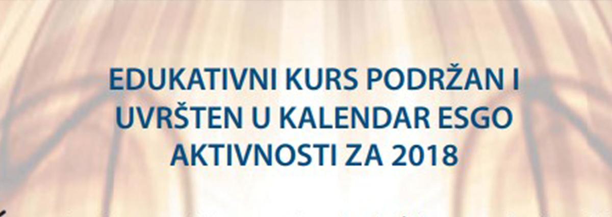 Edukativni Kurs Podržan I Uvršten U Kalendar ESGO Aktivnosti Za 2018